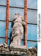 cierre, estilo, iglesia, riga, mujer, latvia., barroco, sin cabeza, estatua, peter, s., fachada, antiguo