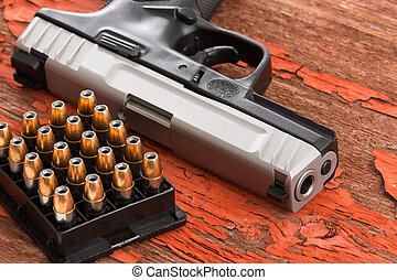 cierre, munición, pistola, arriba, estante