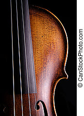 cierre, negro, aislado, viola, violín