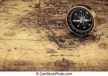 Cierren la brújula magnética en el viejo mapa