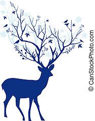 Ciervo de Navidad Azul, vector