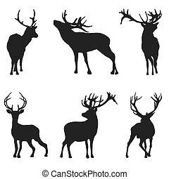 Ciervo de silueta en fondo blanco: ilustración vectorial