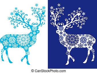 Ciervos chirstmas azules, vector fijado