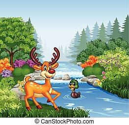 Ciervos de dibujos animados en la orilla del río