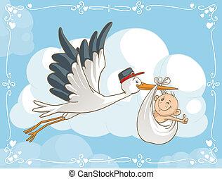 Cigüeña con caricatura de vector de bebé