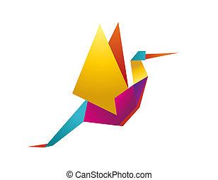 cigüeña, vibrante, colores, origami