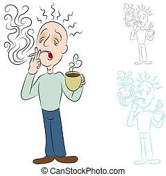 cigarrillos, café, enfermo