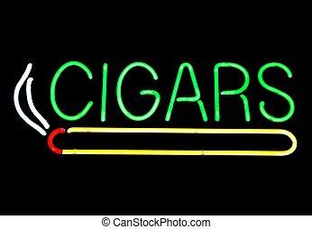 cigarro, neón, almacenar la muestra