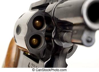 cilindro, calibre, puntiagudo, arma de fuego, revólver, 38, cargado, barril, pistola