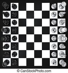 cima, ajedrez, vista