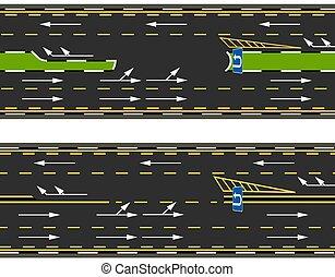 cima, calle., u-turns, camino, marking., carretera, vista, camino, dos, tipos, ilustración