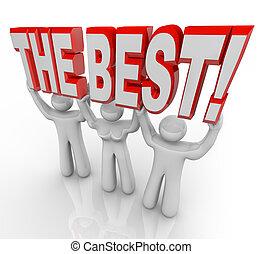 cima, ganadores, celebrar, palabras, equipo, elevación, mejor