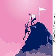 cima, -, hombre de negocios, montaña, tira, concepto, socio, vector, empresa / negocio