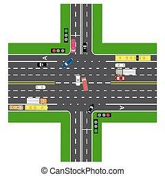 cima, non-principal, tráfico, intersección, roads., infographics., coches, verde, highway., señal del camino, más, transport., cargado, road., vista, carretera, mapas, lights., público
