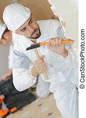 cincel, hombre de la foto, depicts, martillo