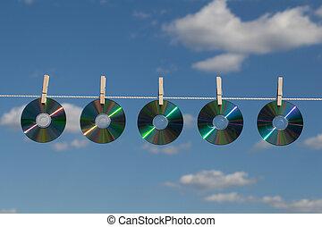 cinco, clotheslines, cds