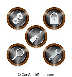 Cinco iconos con diferentes herramientas