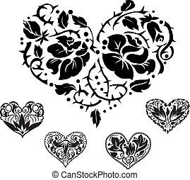 Cinco siluetas de corazón