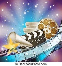 Cine azul fondo con retro cinematografía, claque y estrellas