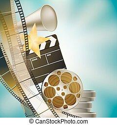 Cine azul fondo con retro cinematografía, claque y estrellas dejaron la frontera vertical