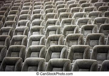 cine, cómodo, vacío, teatro, asientos
