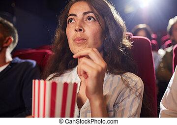 cine, comida, bastante, palomitas, mujer, joven