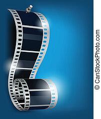 Cine de carrete en el backgorund azul