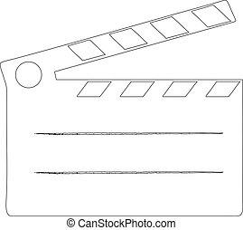 Cine de claps de cine, ilustración de vector