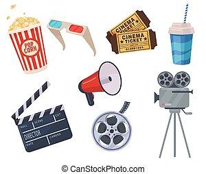 cine, elementos, conjunto