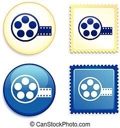 Cine en sello y botón