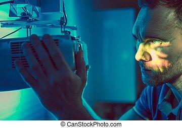 cine, hogar, proyector, dispositivo