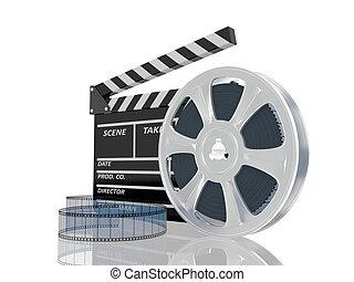 cine, ilustración, carrete de película, aplauda, 3d
