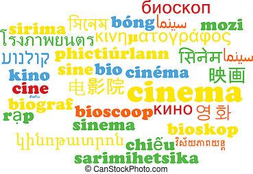 Cine multilugar concepto de fondo de palabra