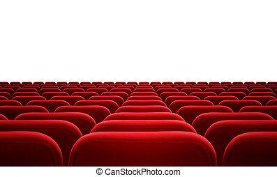 Cine o público, asientos rojos aislados