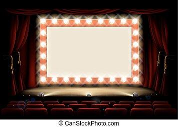 Cine o teatro con un letrero de bombilla