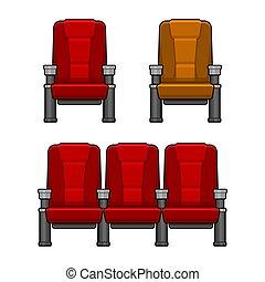 Cine sillas rojas puestas