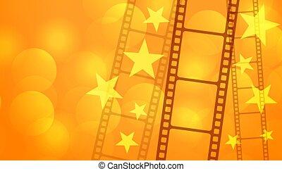 cine, tira, carrete de película, estrellas, plano de fondo