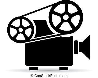 cine, vídeo, proyector, icono