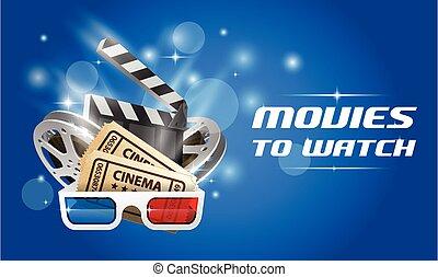 Cine y película, el póster del estreno de una película con tablero de clapper, carrete de película y gafas 3D