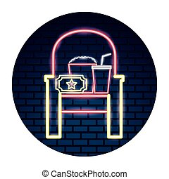 Cinema neon set iconos