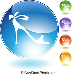 cinta, alto, cristal, zapato, tacón, icono