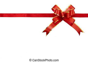 Cinta de regalo rojo aislada en el fondo blanco