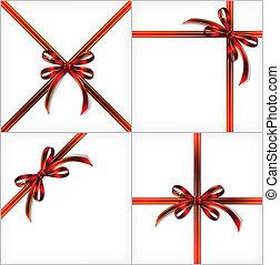 Cinta de regalo rojo. El vector puso fondo