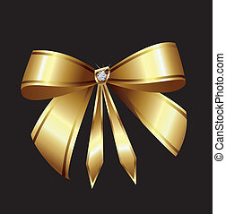 Cinta de vector de oro con diamante
