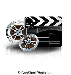 Cinta de video con clapper de cine y trompetista de películas en Blue Backgr