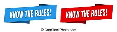 cinta, etiqueta, saber, banner., señal, conjunto, reglas