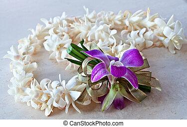 cinta, lei, orquídea, púrpura, tuberose
