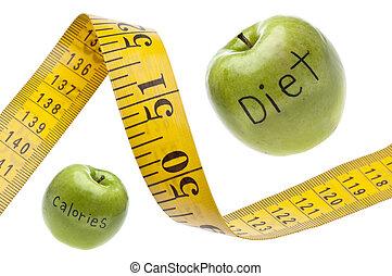 cinta medición, concepto, calorías, dieta