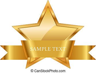 cinta, oro, premio, brillante, estrella