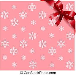 Cinta roja sobre copos de nieve rosa